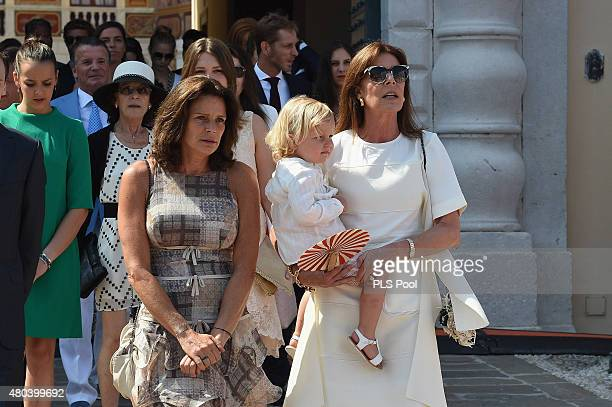 Princesse Stephanie of Monaco and Princess Caroline of Hanover with her grandson Sasha walk on the Palace place during the First Day of the 10th...