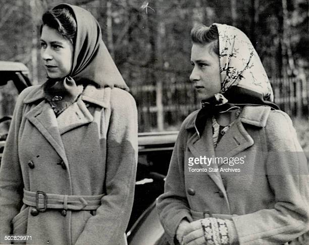 Princesses attend tree planting ceremonies Princess Elizabeth and Princess Margaret Rose arrive at Windsor great park england to attend the tree...