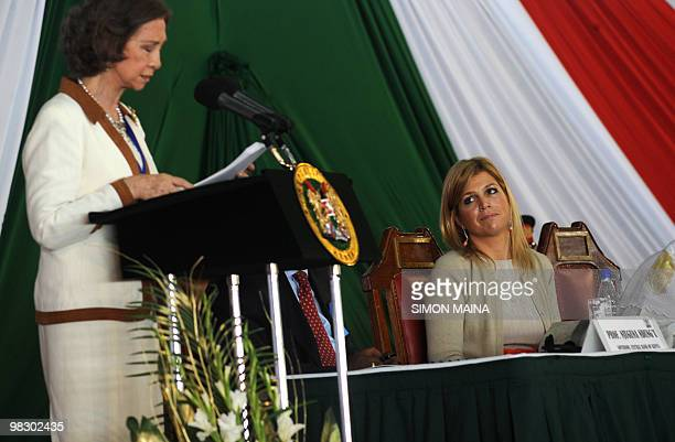 Princesses Maxima of The Netherlands looks at Queen Sofia of Spain addressing delegates at the Kenyatta International Conference Center in Nairobi...
