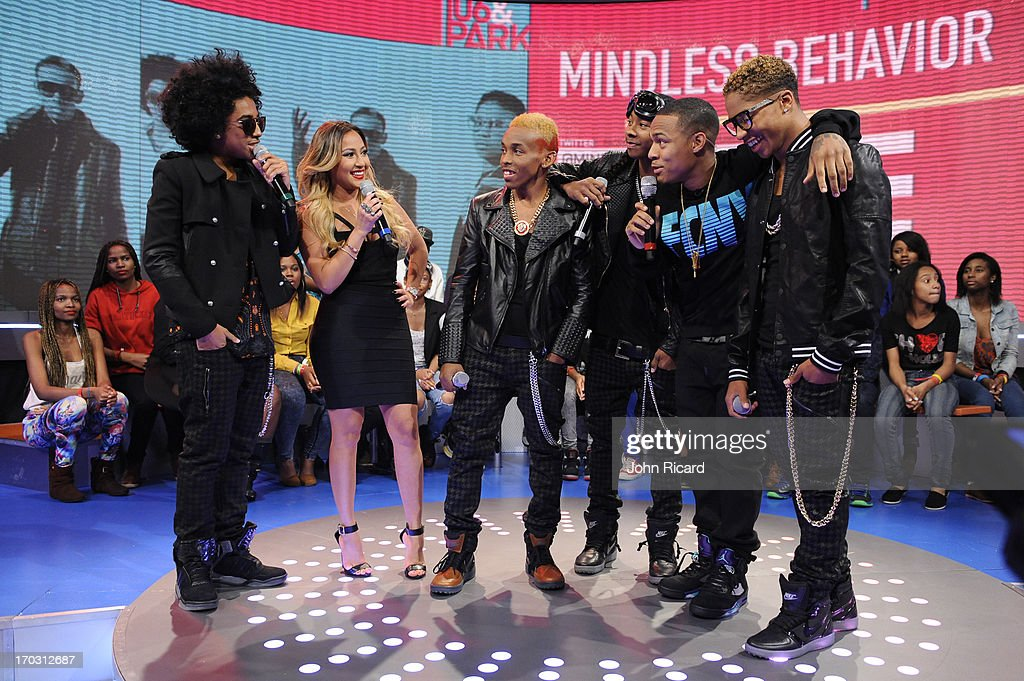 Princeton, Prodigy, Ray Ray and Roc Royal of Mindless Behavior with hosts Adrienne Bailon and Bow Wow at BET's '106 & Park' at BET Studios on June 10, 2013 in New York City.