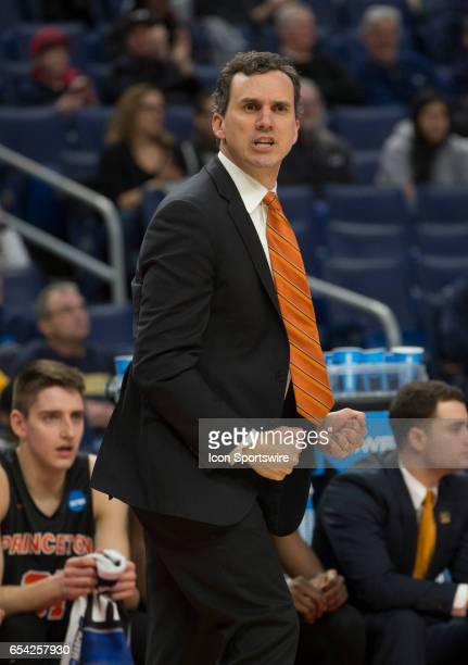 Princeton Tigers head coach Mitch Henderson looks on during the NCAA Division I Men's Basketball Championship first round game between Princeton...
