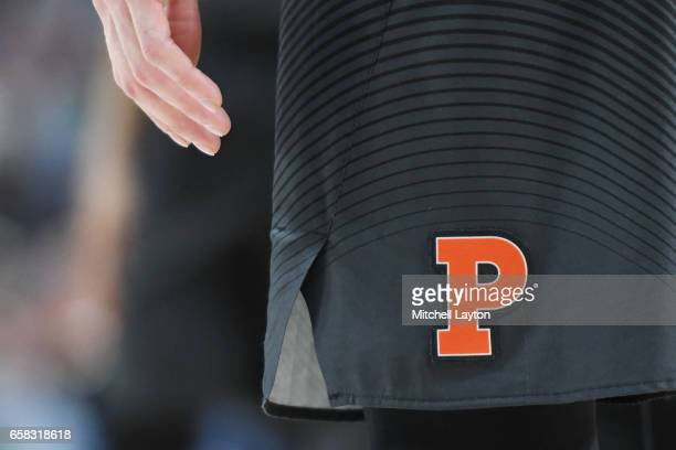 Princeton Tigers logo on a pair of shorts during the First Round of the NCAA Basketball Tournament against the Notre Dame Fighting Irish at The...
