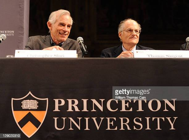 Princeton University professor Christopher Sims and Thomas Sargent a New York University economist who is a visiting professor at Princeton speak to...