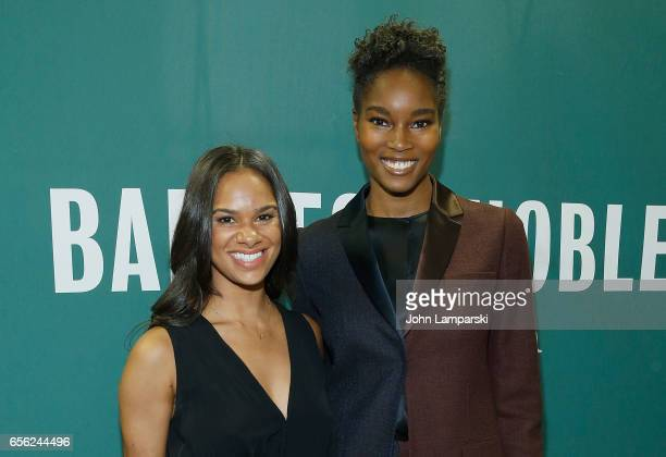 Principal American Ballet Theatre ballerina Misty Copeland speaks with moderator Damaris Lewis as she signs copies of her new book 'Ballerina Body...