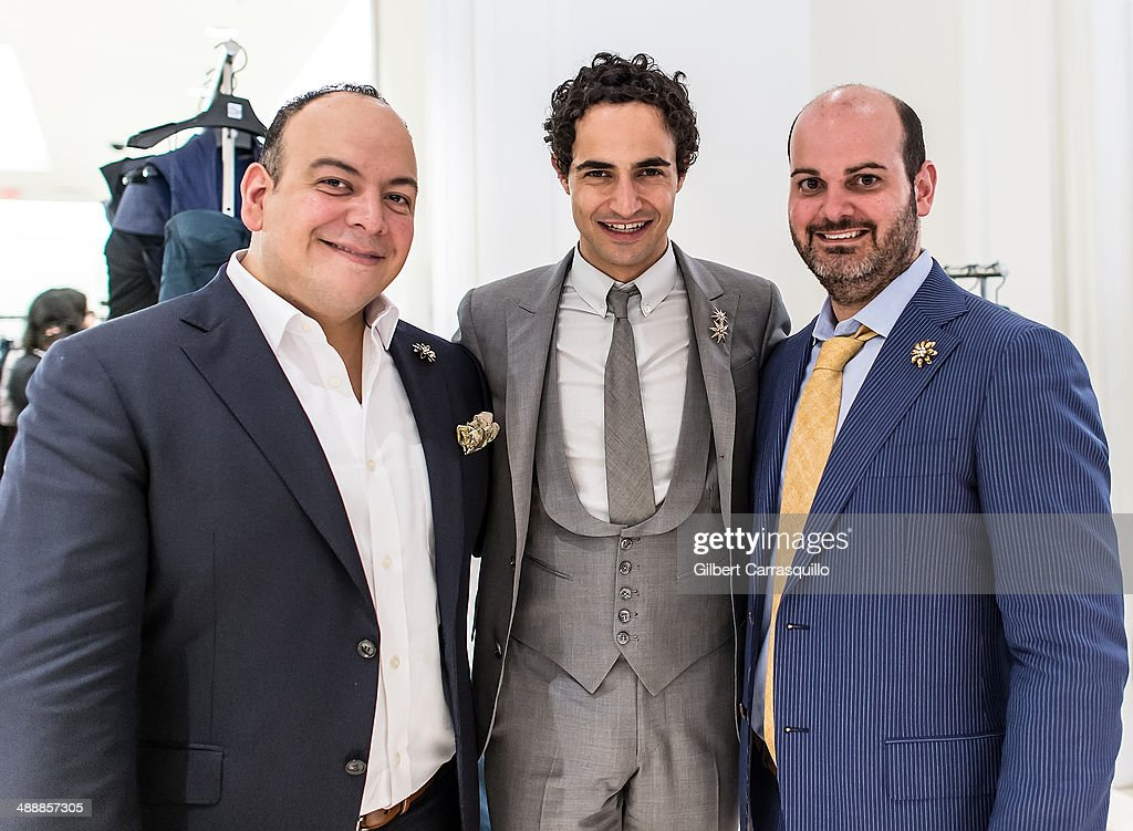 Principal at Matthew Vlahos PR, Matthew Vlahos, designer <a gi-track='captionPersonalityLinkClicked' href=/galleries/search?phrase=Zac+Posen+-+Fashion+Designer&family=editorial&specificpeople=4442066 ng-click='$event.stopPropagation()'>Zac Posen</a> and Stylist and Lifestyle & Fashion public relations director at Matthew Vlahos PR, Jimmy Contreras attend the <a gi-track='captionPersonalityLinkClicked' href=/galleries/search?phrase=Zac+Posen+-+Fashion+Designer&family=editorial&specificpeople=4442066 ng-click='$event.stopPropagation()'>Zac Posen</a> Pre-Fall And Fall 2014 Collections Preview at Saks Fifth Avenue on May 8, 2014 in Bala-Cynwyd, Pennsylvania.