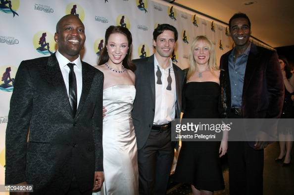 Principal Cast Members Tituss Burgess Sierra Boggess Sean Palmer Sherie Rene Scott and Norm Lewis attend the After Party of 'The Little Mermaid' at...