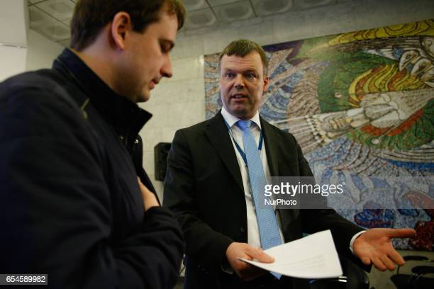 Principal Deputy Chief Monitor of the OSCE Special Monitoring Mission to Ukraine Alexander Hug talks to journalist after a press conference in Kyiv...