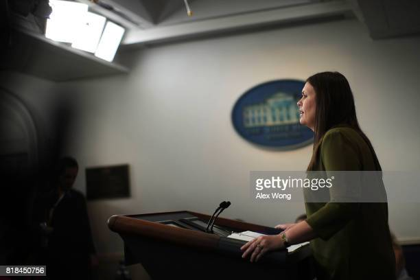 Principal Deputy Press Secretary Sarah Huckabee Sanders speaks during an offcamera press briefing at the James Brady Press Briefing Room of the White...