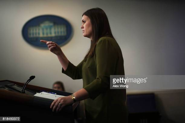 Principal Deputy Press Secretary Sarah Huckabee Sanders takes questions during an offcamera press briefing at the James Brady Press Briefing Room of...