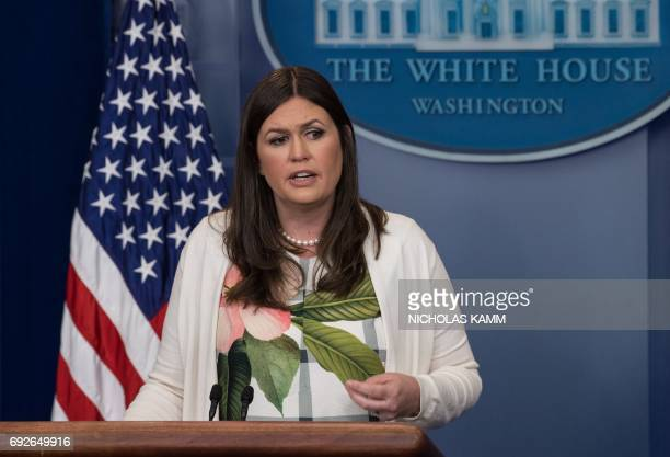 Principal Deputy White House Press Secretary Sarah Huckabee Sanders speaks during the press briefing at the White House in Washington DC on June 5...