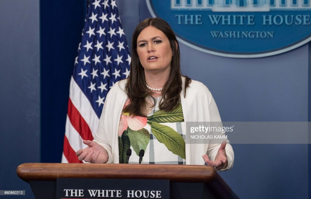 Principal Deputy White House Press Secretary Sarah Huckabee Sanders speaks during the press briefing at the White House in Washington, DC, on June 5, 2017. /