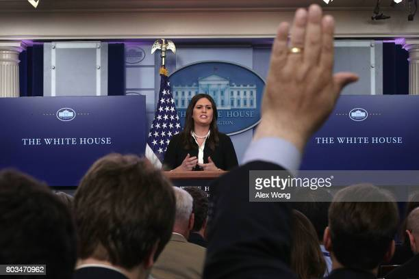 Principal Deputy White House Press Secretary Sarah Huckabee Sanders speaks during a White House daily briefing at the James Brady Press Briefing Room...
