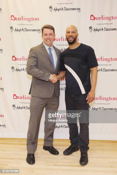 Principal of Renaissance School of Arts Brian Bradley and musican/actor Common attend AdoptAClassroom Event at Renaissance School of the Arts on July...