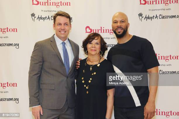 Principal of Renaissance School of Arts Brian Bradley Dr Mahalia Hines and musican/actor Common attend AdoptAClassroom Event at Renaissance School of...