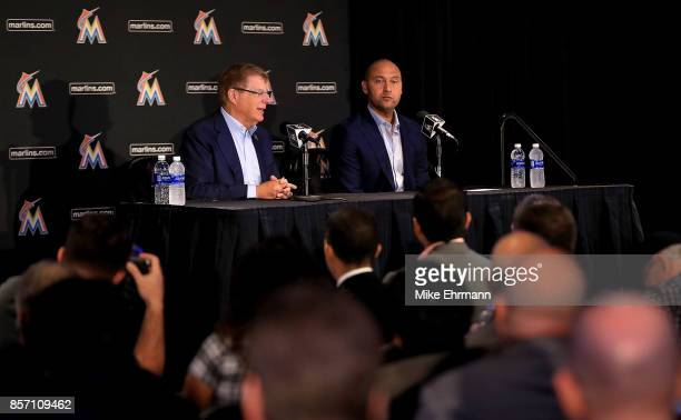 Principal owner Bruce Sherman and CEO Derek Jeter speak with members of the media at Marlins Park on October 3 2017 in Miami Florida