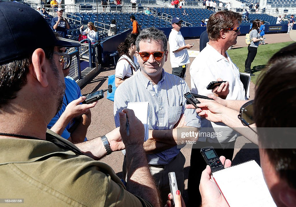 Principal owner Stuart Sternberg of the Tampa Bay Rays addresses the media just before the start of the Grapefruit League Spring Training Game against the Boston Red Sox at the Charlotte Sports Complex on March 10, 2013 in Port Charlotte, Florida.