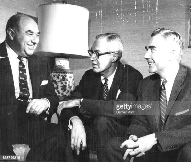 Principals in the biggest real estate transaction in Colorado history are shown here as they announce proposed purchase of the Denver US National...