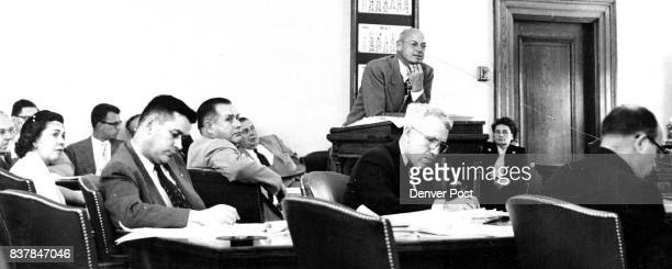 Principals in Ward Case This photo shows main figures in the Fred A Ward case as the bankrupt auto dealer's threecount case opened in the courtroom...