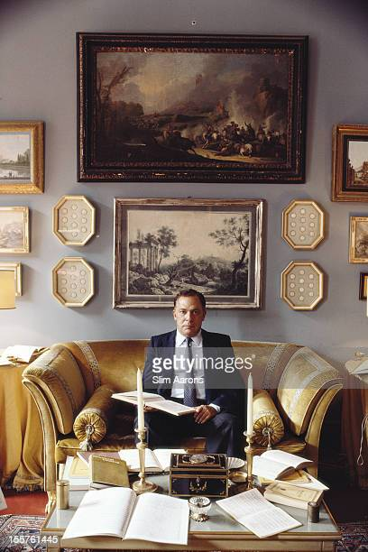 Principe Francesco d'Avalos studying musical compsitions in the 'blue room' of the Palazzo d'Avalos in Naples Italy in October 1985 Francesco is a...
