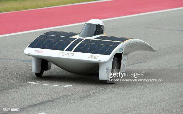 Principia College's solar car on the straightaway during qualifying races for the 1700mile American Solar Challenge race at Circuit of the Americas...