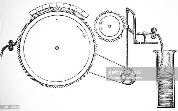 revolving drum covered with wire teeth the top covered with concave frame with similar teeth Cotton lap is fed through the rollers from left...