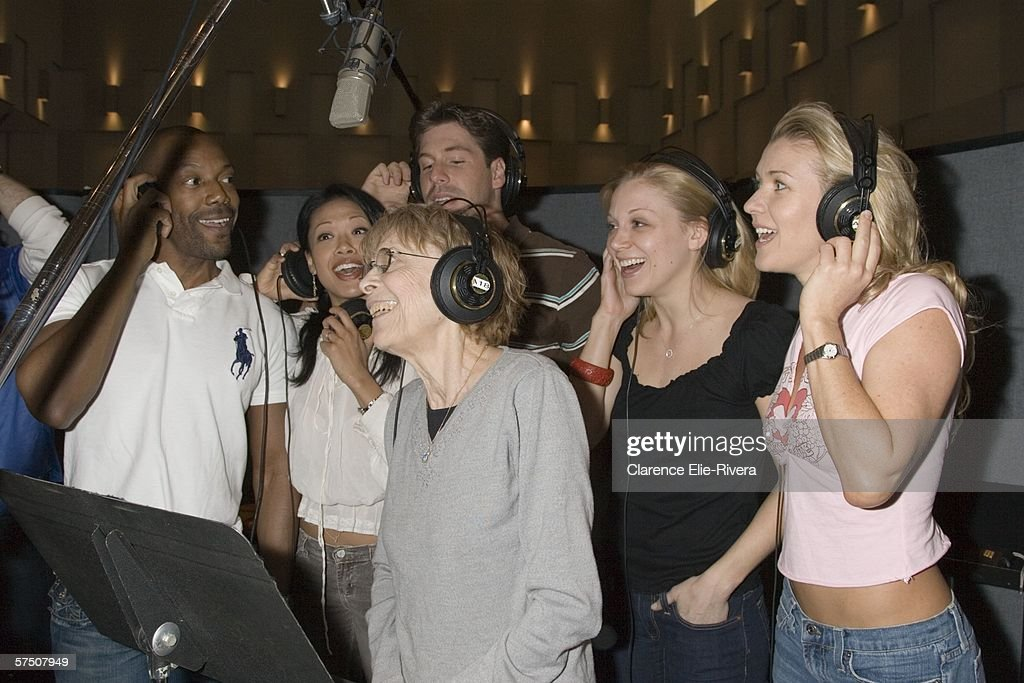 Principle Rita Gardner C Sings With Cast Members At The Recording Session For