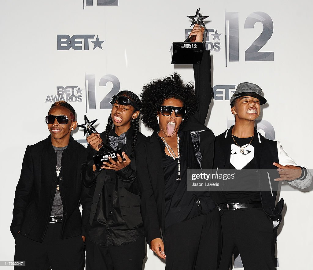 Prineton Roc Royal Ray Ray and Prodigy of Mindless Behavior pose in the press room at the 2012 BET Awards at The Shrine Auditorium on July 1 2012 in...