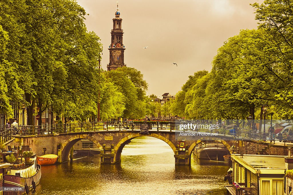 Prinsengracht canal and the bell tower of Westerkerk
