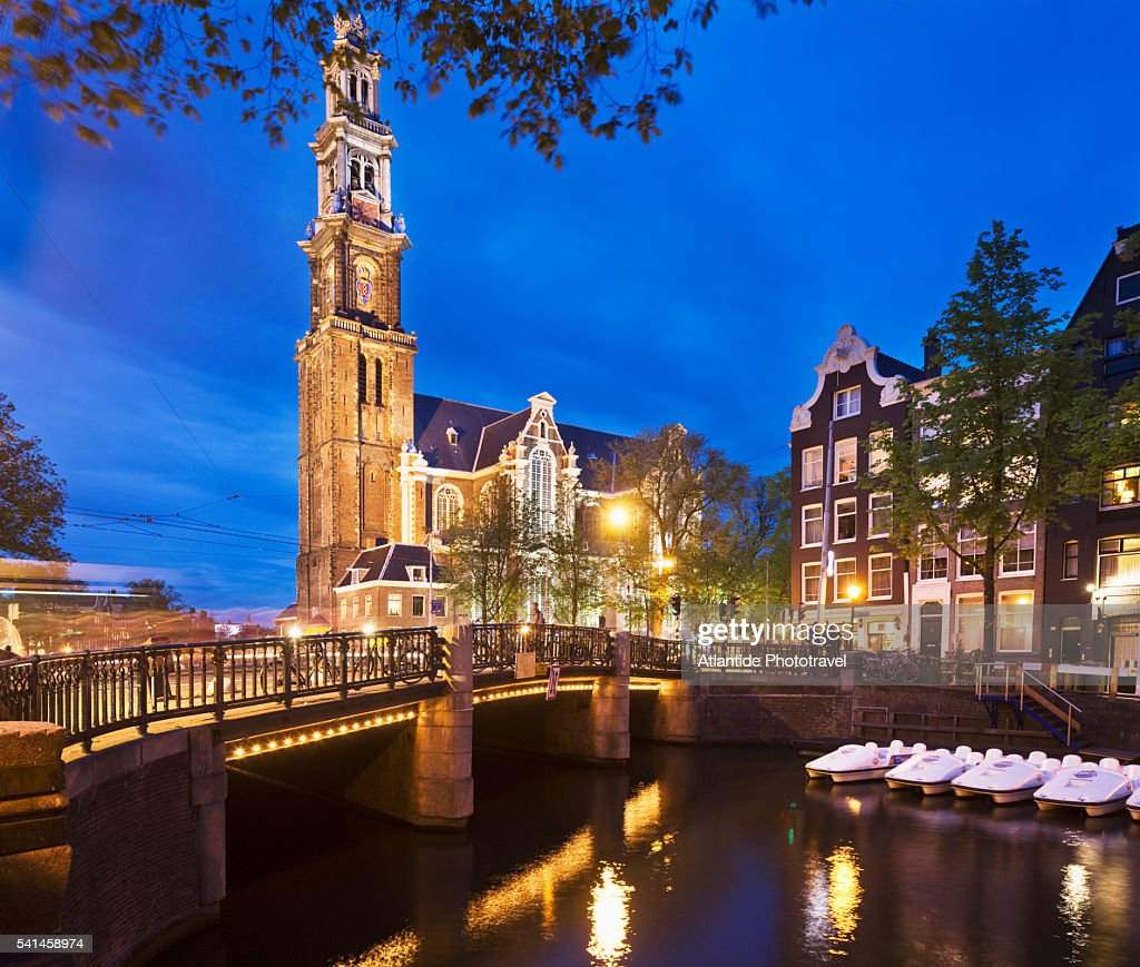 Prinsengracht canal and the Westerkerk (western church)