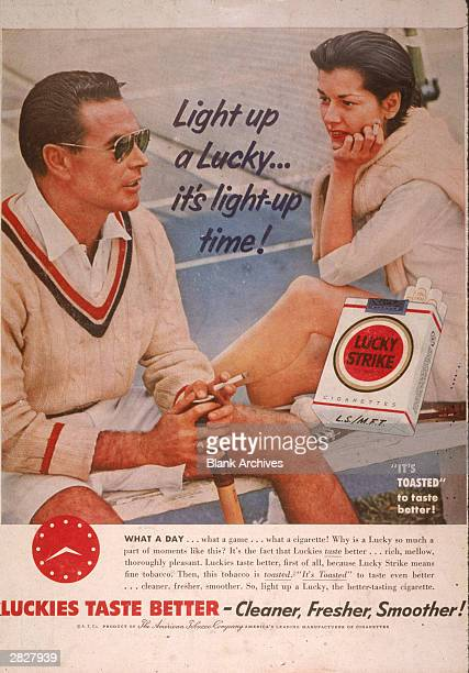 A 1955 print ad for Lucky Strike cigarettes showing a couple in tennis outfits smoking and featuring the slogan 'Luckies Taste Better'