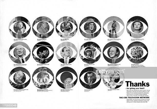CBS print advertisement attributed to art director and designer William Golden featuring the CBS EYE logo as photographs containing CBS television...