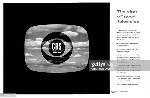 CBS print advertisement attributed to art director and designer William Golden featuring the introduction of the CBS Eye logo with clouds theme The...