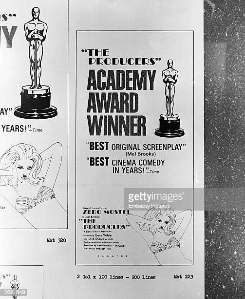 A print advertisement for the Academy Awardwinning film 'The Producers' directed by Mel Brooks 1968