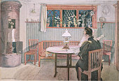 A print by Carl Larsson entitled The Dining Room published in EttHem Stockholm in 1899