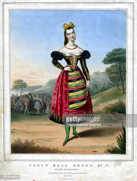 A print entitled 'Fancy Ball Dress No 7' was printed circa 1840 in London England