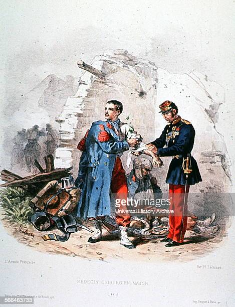 Print entitled 'Médecin Chirurgien Major' is a hand coloured lithograph made by Hippolyte Lalaisse in the 1840s