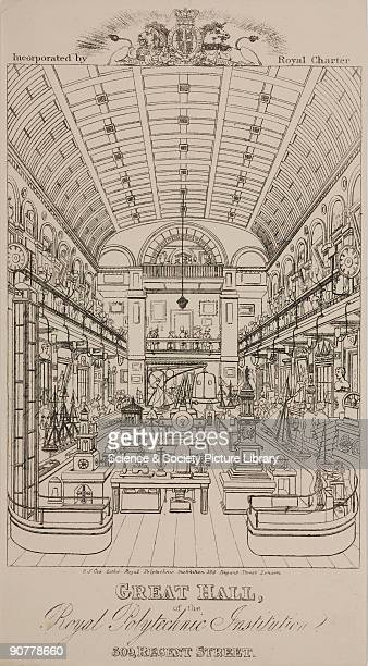 Print of a lithograph illustrating the interior of the Royal Polytechnic Institution at 309 Regent�s Street London The image shows an exhibition in...
