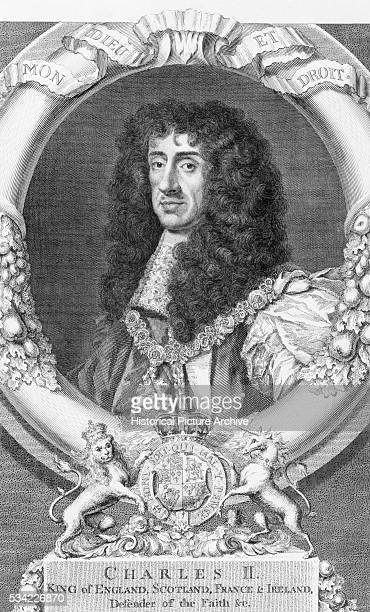 A print of a portrait of King Charles II of England Scotland France and Ireland from an original painting by Sir Peter Lily in the Bridewell Hall...