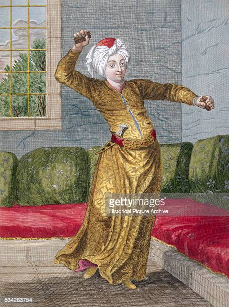 A print of an early 18th century engraving by Le Hay of a dancer from the nations of the Levant within the Ottoman Empire