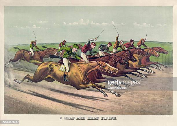 Print of racehorses speeding towards the finish line titled 'A Head and Head Finish' 1892 Chromolithograph