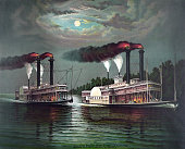 Print of the famous race of the steamboats Robert E Lee and Natchez on the Mississippi River 1883 The celebrated race took place in 1870...