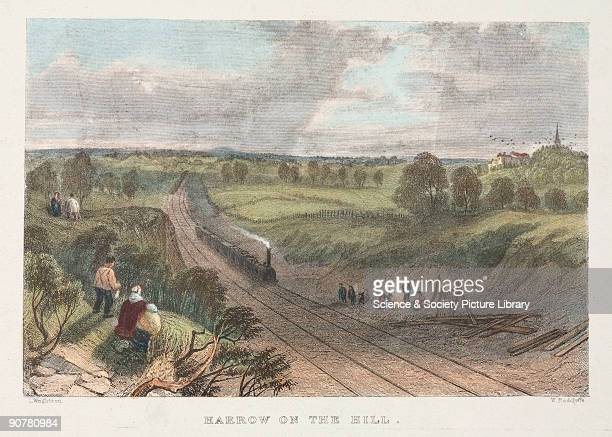 Print showing a steam locomotive at Harrow on the Hill