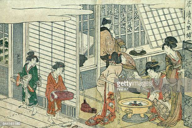 Print shows a man looking out windows at snow falling while courtesans prepare tea and perform other domestic duties From the series Seiro ehon...