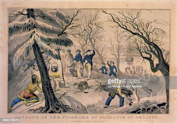 Print shows a Native man hiding on the left watching the Pilgrims around a campfire with small cauldron a man with hatchet is gathering firewood and...