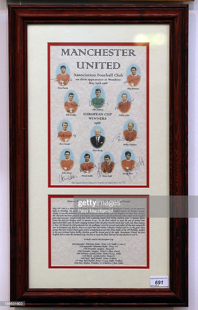 A print signed by the Manchester United 1968 European Cup winning team is shown at Sotheby's on November 6, 2012 in London, England. Graham Budd auctioneers are holding a two day sale of Sporting Memorabilia at Sotheby's in London on 5-6th November 2012.