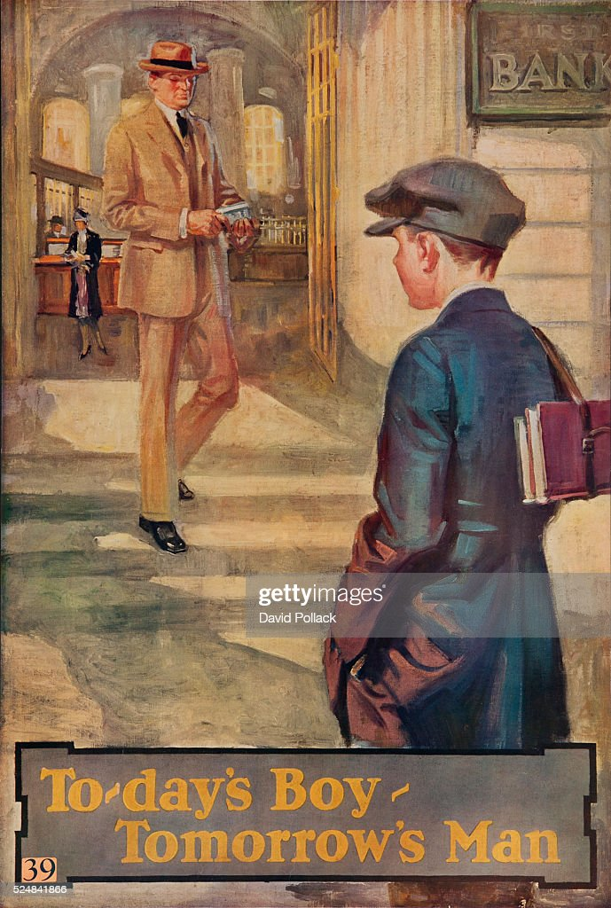 1920s American Banking Poster Todays Boy Tomorrows man