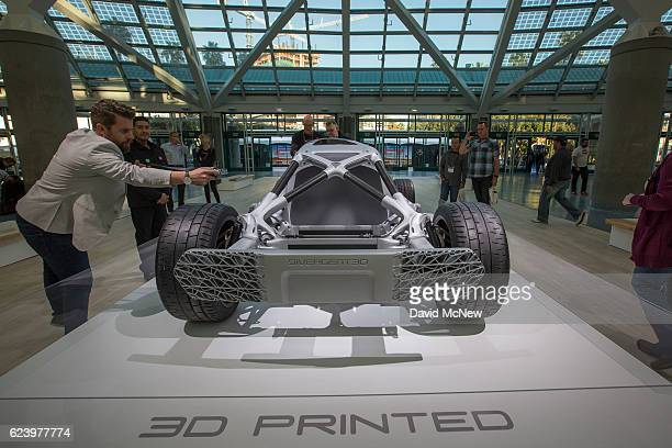 A 3D printed car made by Divergent 3D which is claimed to be a more environmentally friendly and cost effective way to build cars is displayed during...
