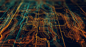 3d Illustration. Circuit board futuristic server code processing. Orange,  green, blue technology background with bokeh