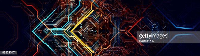 Printed circuit board in the server  executes the data. : Foto de stock