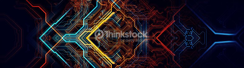 Printed circuit board in the server  executes the data. : Stock Photo